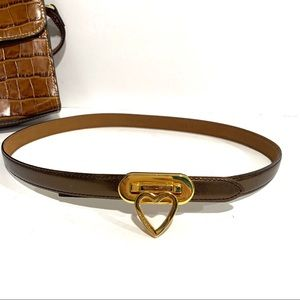 Moschino Turnlock Gold Heart Leather Thin Belt